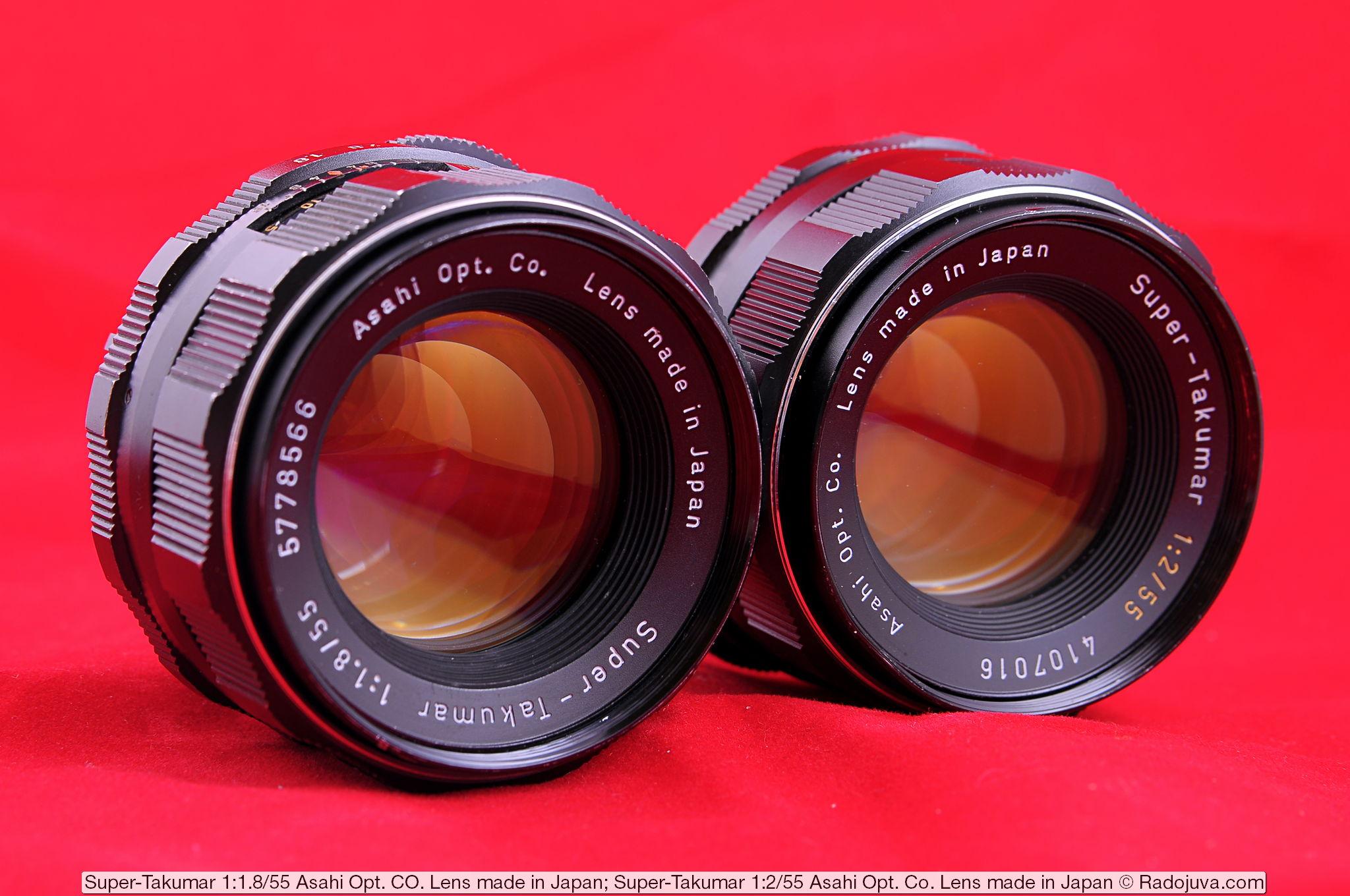 Объективы Super-Takumar 1:1.8/55 Asahi Opt. Co. Lens made in Japan и Super-Takumar 1:2/55 Asahi Opt. Co. Lens made in Japan