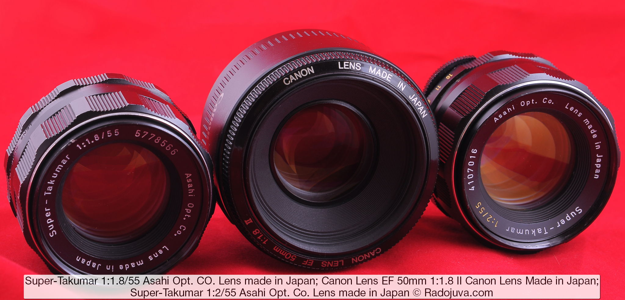 Объективы Super-Takumar 1:1.8/55 Asahi Opt. Co. Lens made in Japan и Canon Lens EF 50mm 1:1.8 II Canon Lens Made in Japan и Super-Takumar 1:2/55 Asahi Opt. Co. Lens made in Japan