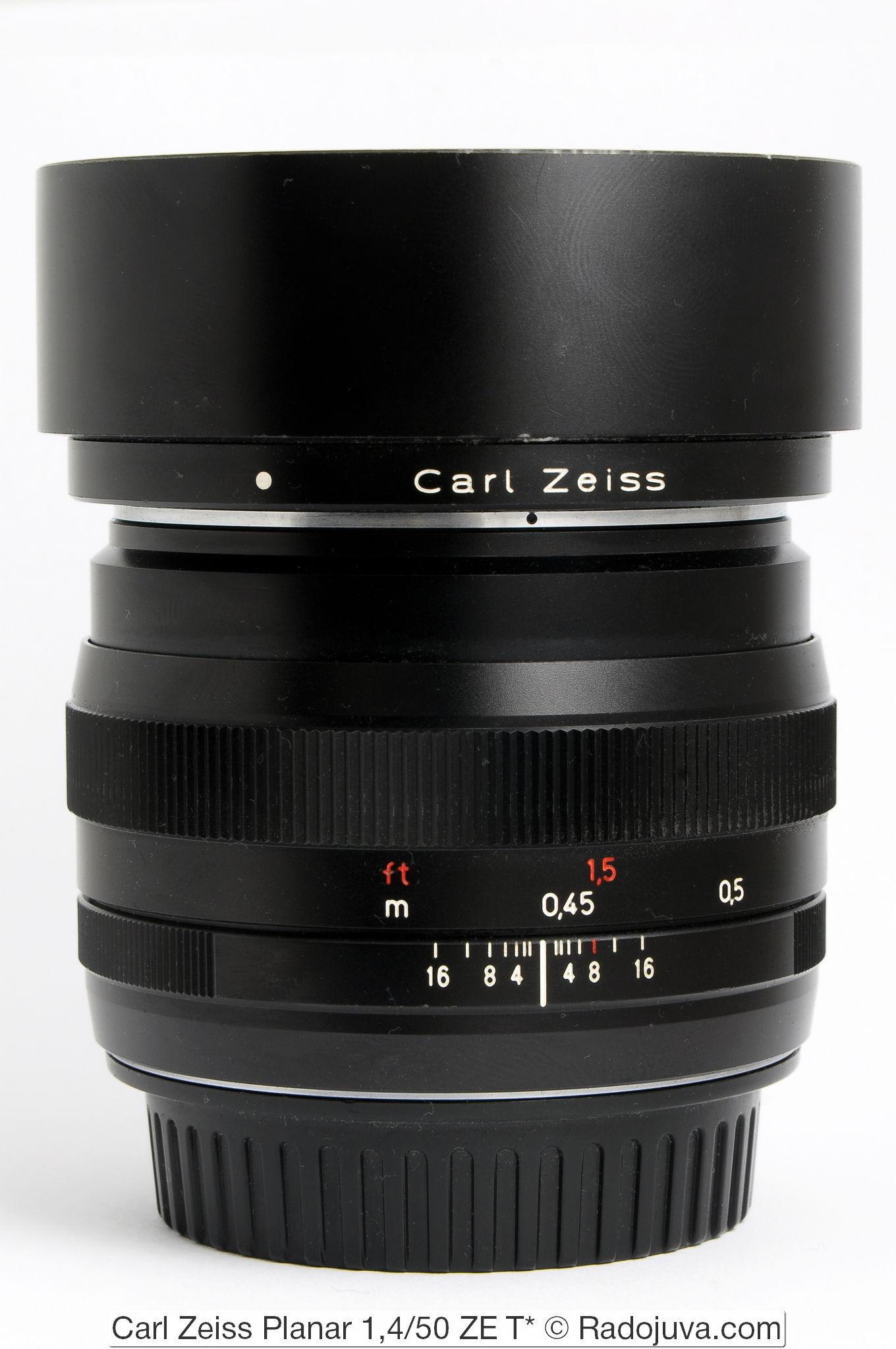 Carl Zeiss Planar 1,4/50 ZE T* с оригинальной металлической блендой