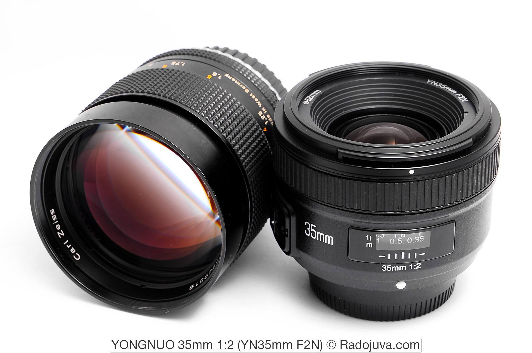 Благородный Carl Zeiss Planar 1,4/85 T* (Lens made in West Germany, C/Y) и простенький YONGNUO 35mm f/2 (YN35mm F2N)