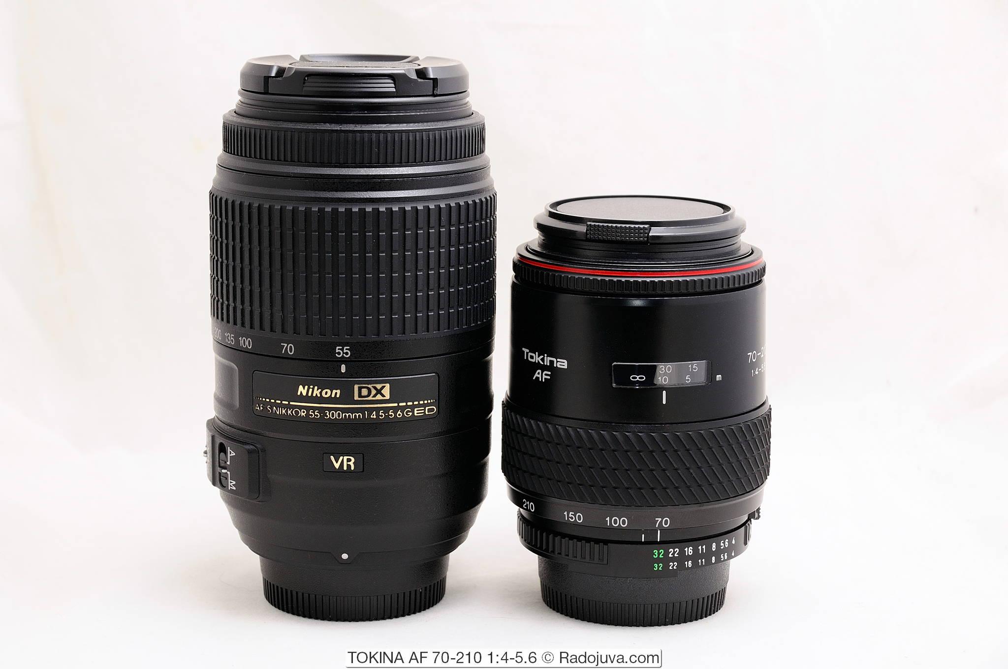 Размеры Nikon DX AF-S NIKKOR 55-300mm 1:4.5-5.6G ED VR SWM HRI и TOKINA AF 70-210 1:4-5.6