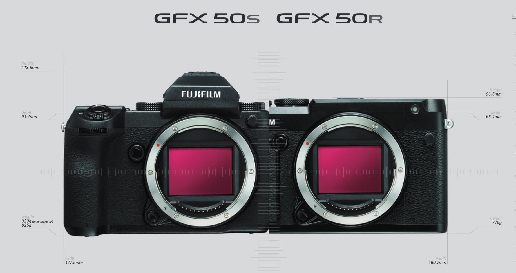 Размеры Fujifilm GFX 50R и Fujifilm GFX 50S