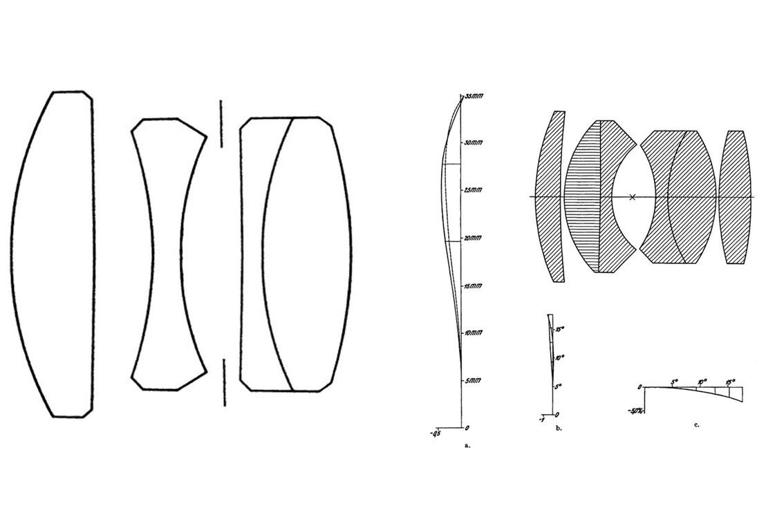 Оптические схемы Tessar (слева) и Biotar F/1.4 (справа).
