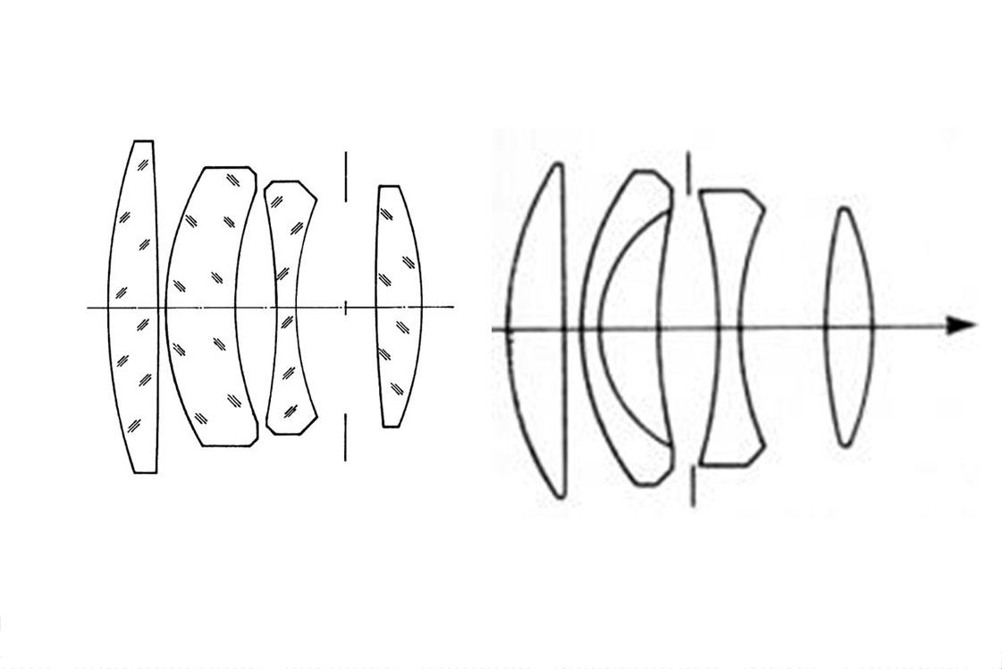Оптические схемы Prakticar 50/2.4 (слева) и Primoplan 58/1.9 (справа).