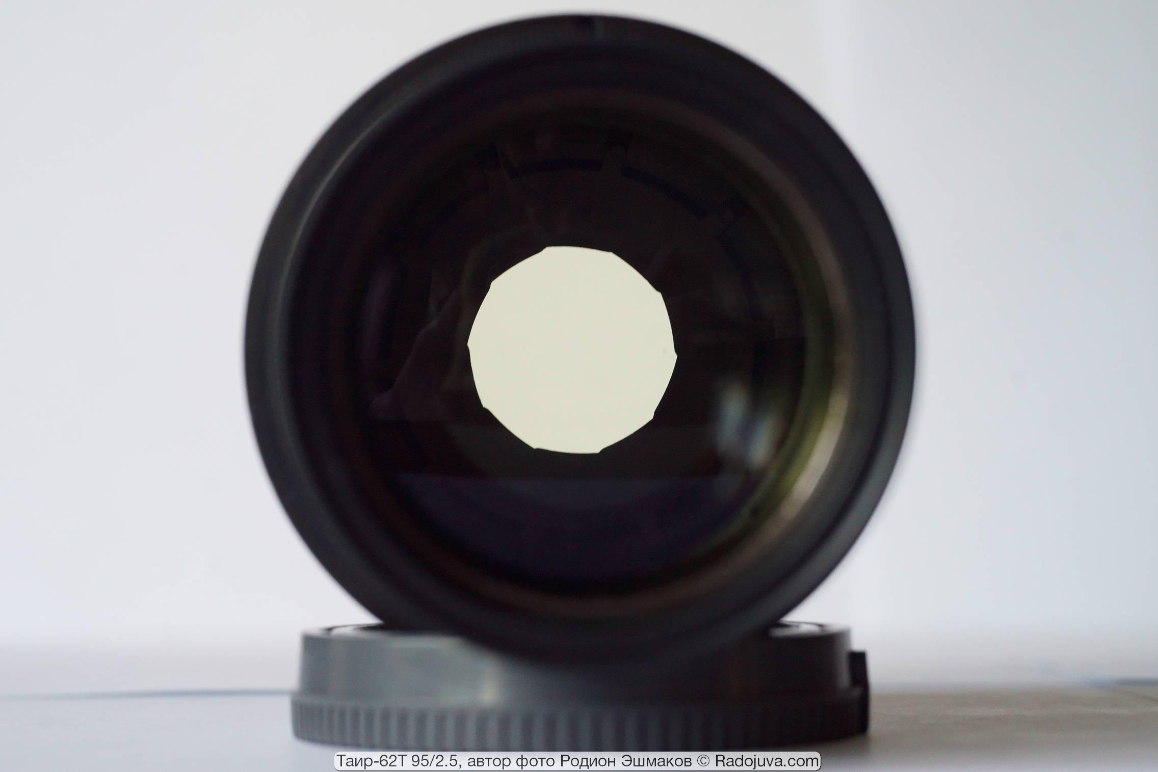Вид формы отверстия диафрагмы при ~F/4.