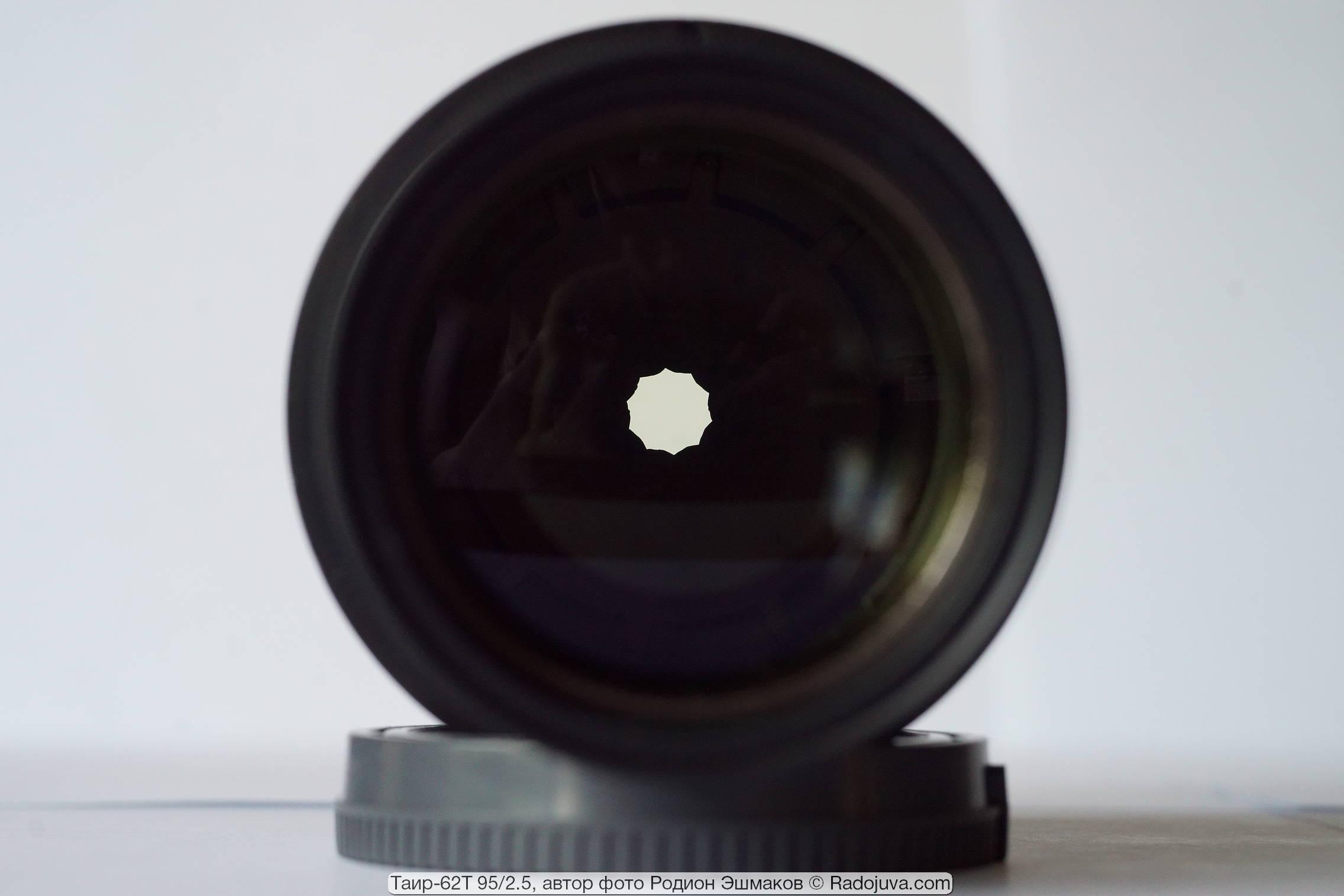 Вид формы отверстия диафрагмы при ~F/8.