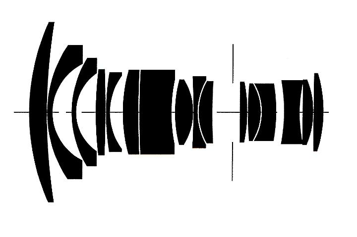 Оптическая схема Carl Zeiss Distagon 2.8/21 T* ZF.2