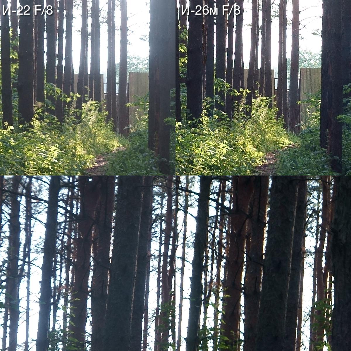 Кропы центра кадра (верхний ряд) и края изображения (нижний ряд) для пятой серии снимков на Индустар-22 и Индустар-26м.