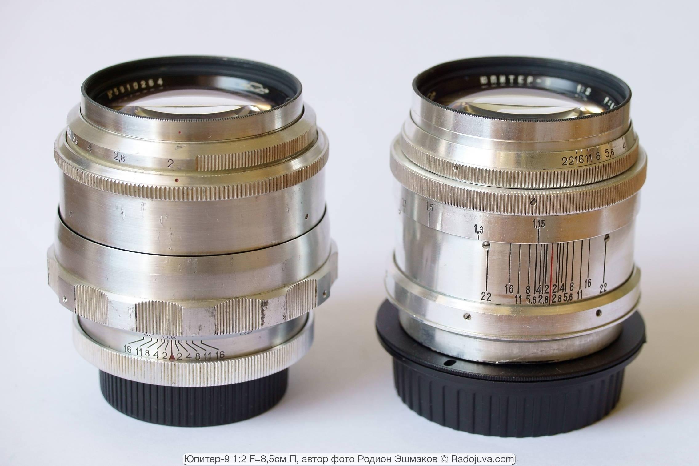 Два Юпитер-9 1959 г.: для камер «Зенит» (слева) и для камер Киев, адаптированный для зеркалок (справа). Установка геликоида на МДФ.