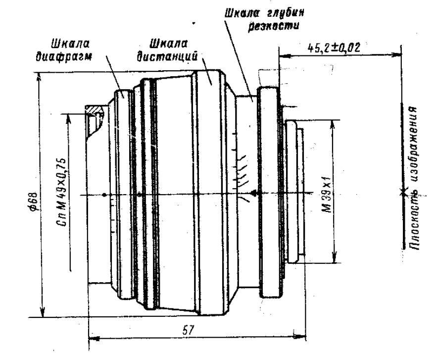 Эскиз корпуса Юпитер-9 для зеркальных камер. Ист.: Справочник Яковлева, т.1.