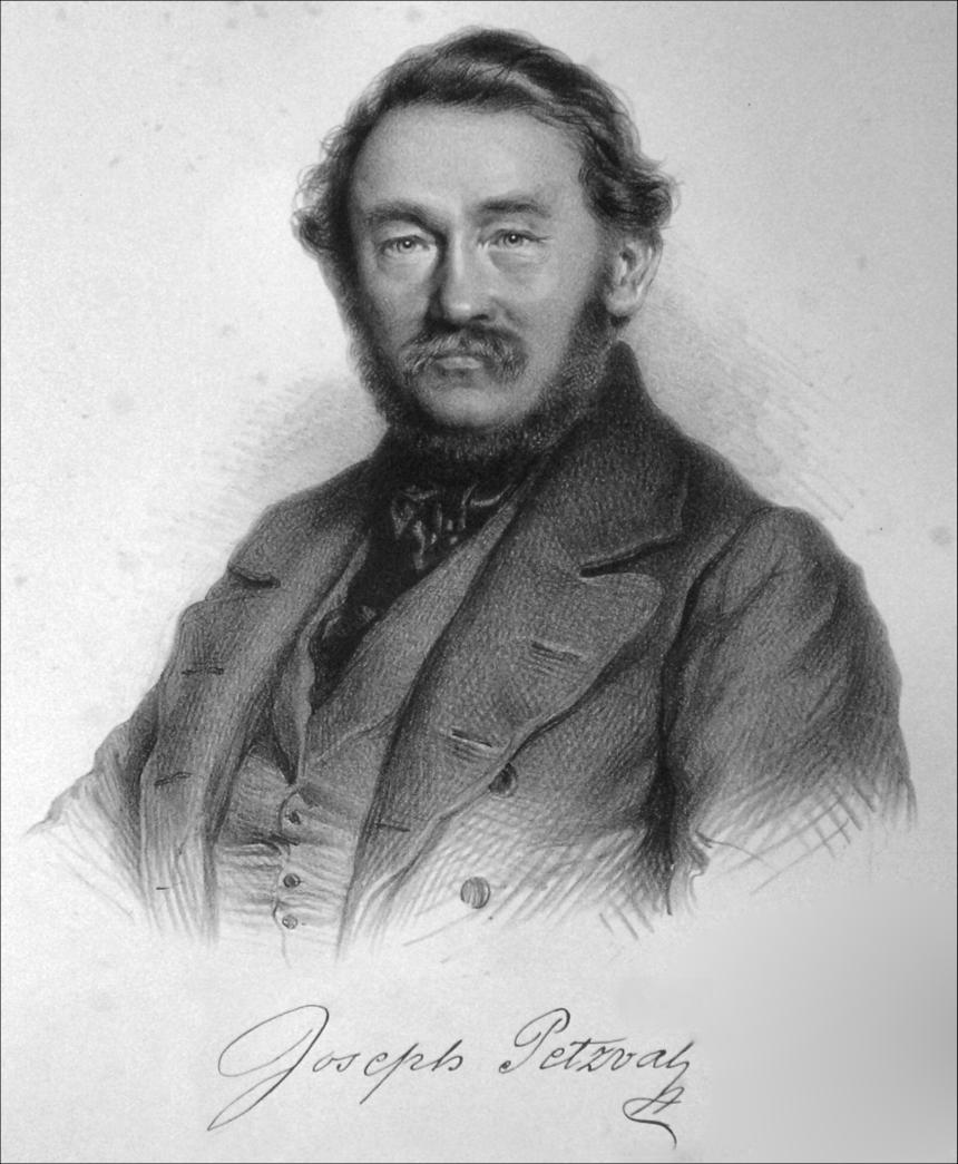 Портрет Йозефа Петцваля. Литография Адольфа Даутхаге, 1854 г.