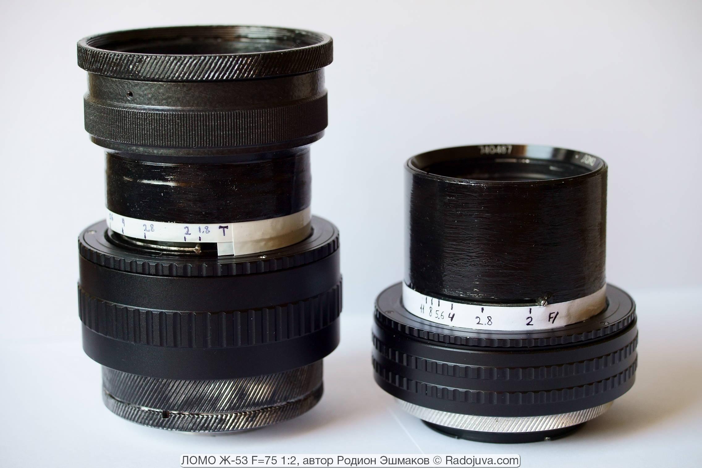 Зато контроль виньетирования очень удобно реализовывается с проекционными планарами с ФР>100 мм (слева — 35КП-1,8/100, переделанный в универсальный 100/1.7 Планар).