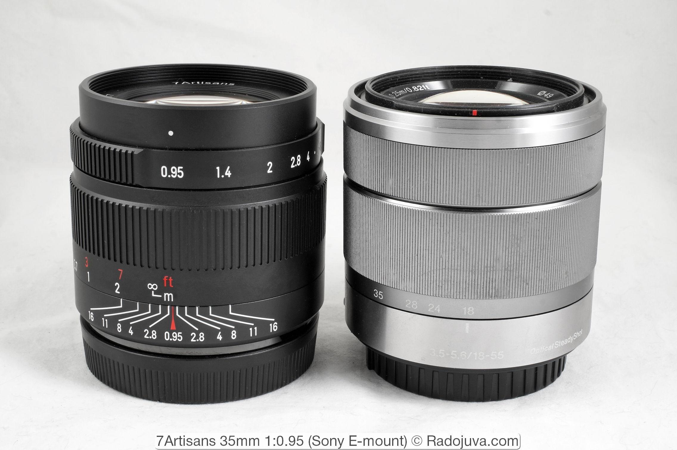Dimensions 7Artisans 35mm 1: 0.95 for Sony E and Sony E mounts 3.5-5.6 / 18-55 OSS (Optical Steady Shot, E-mount)