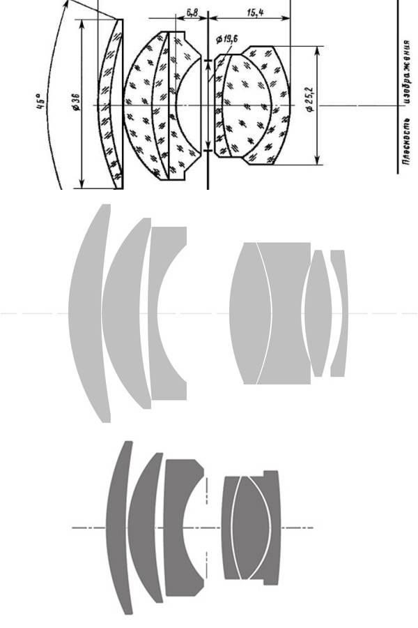 Принципиальные оптические схемы объективов Юпитер-3 (Sonnar 50/1.5, 1932) (сверху), 7artisans 50/1.1 (2017) (посередине), Carl Zeiss C Sonnar ZM (2005) (снизу).