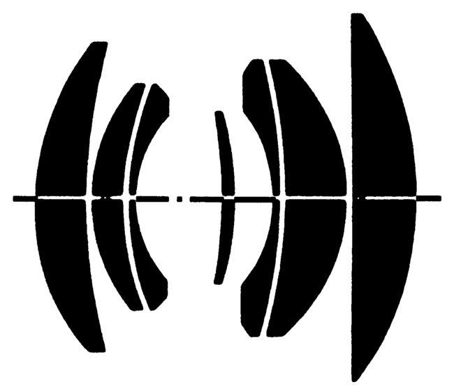 Оптическая схема Carl Zeiss Planar 35/2. Передняя линза – слева.