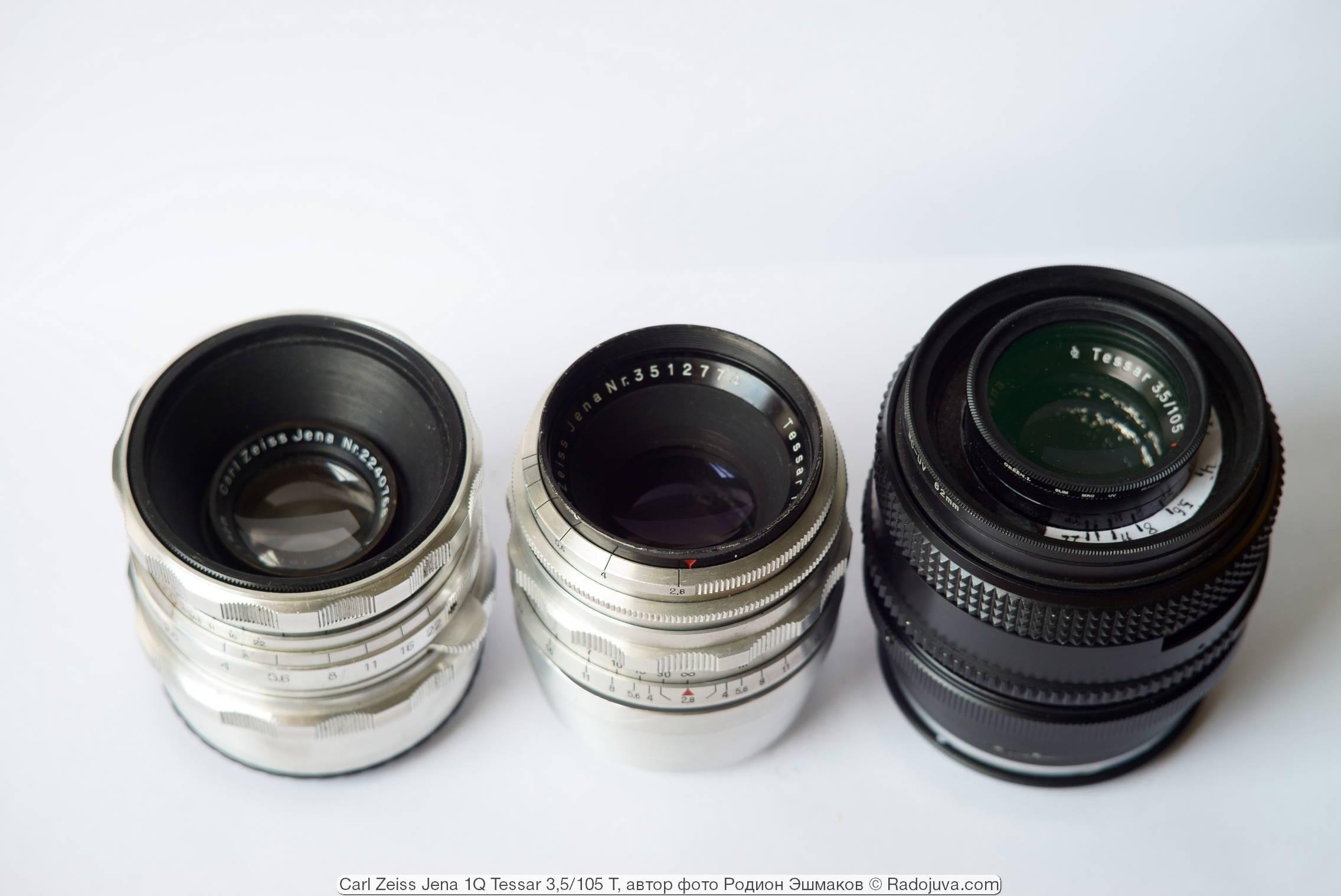 Адаптированные на М42 объективы Carl Zeiss Tessar 75/2.8 (1938, слева), Tessar 80/2.8 (1949, посередине) и Tessar 105/3/5 с байонетом P6 (справа).