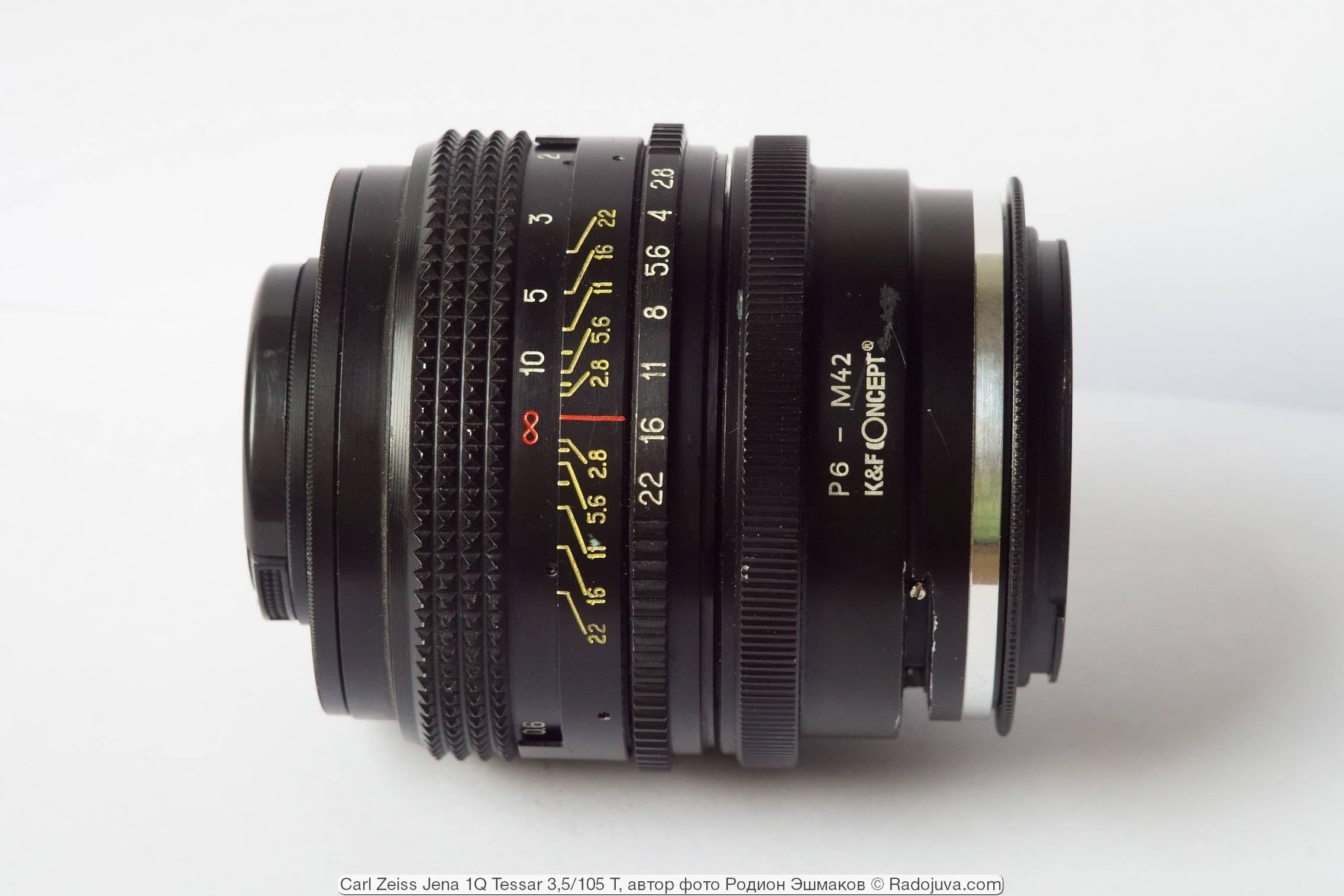 Вид объектива с адаптерами P6-M42 + M42/EOS при фокусировке на бесконечность.