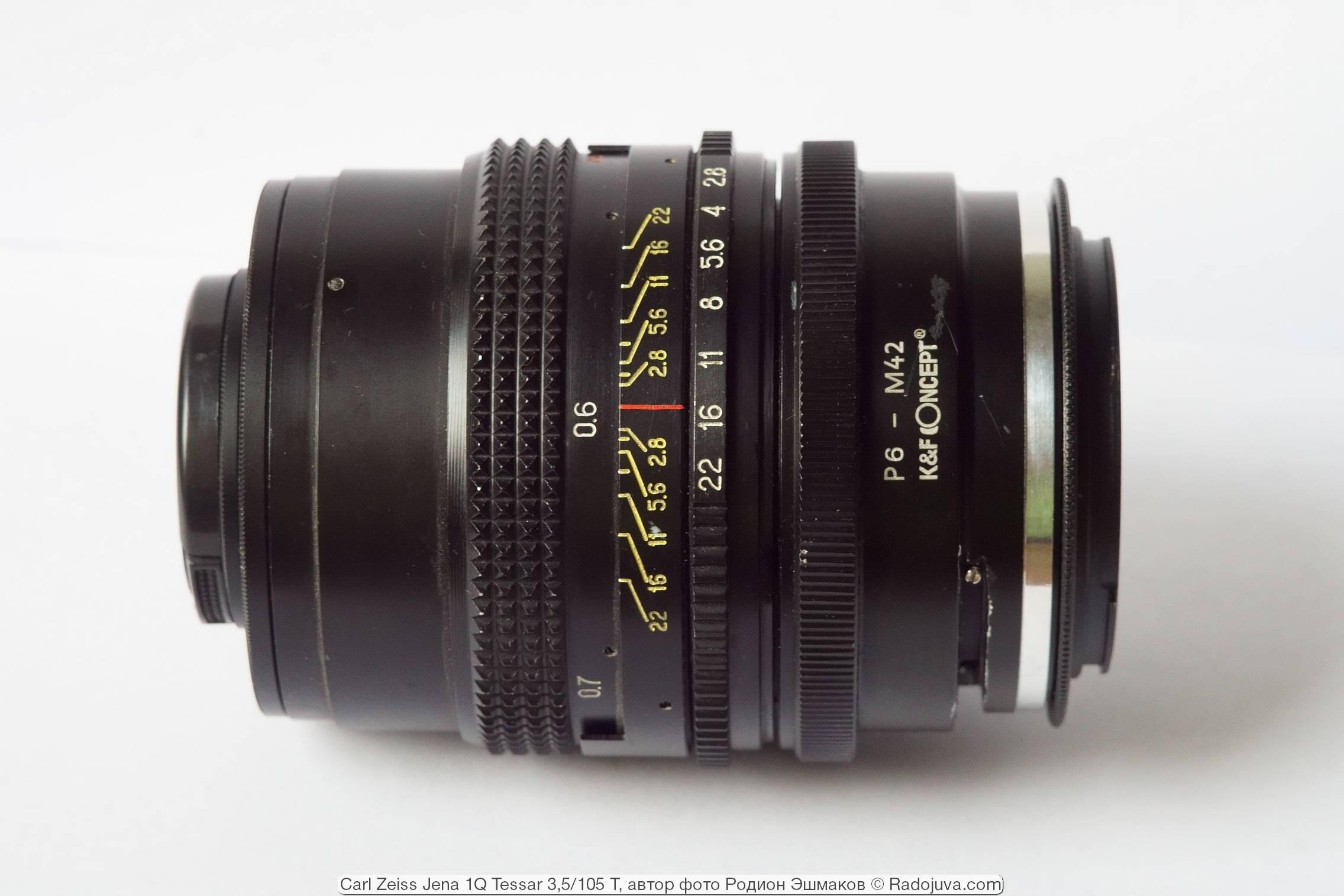 Вид объектива с адаптерами P6-M42 + M42/EOS при фокусировке на МДФ.