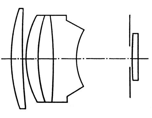 Pentacon 125/2.8 выполнен по той же схеме, что и знаменитый CZJ Sonnar 180/2.8
