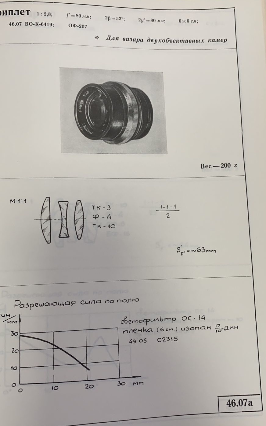 Карточка объектива Триплет 80/2.8 в каталоге ГОИ и его технические характеристики.