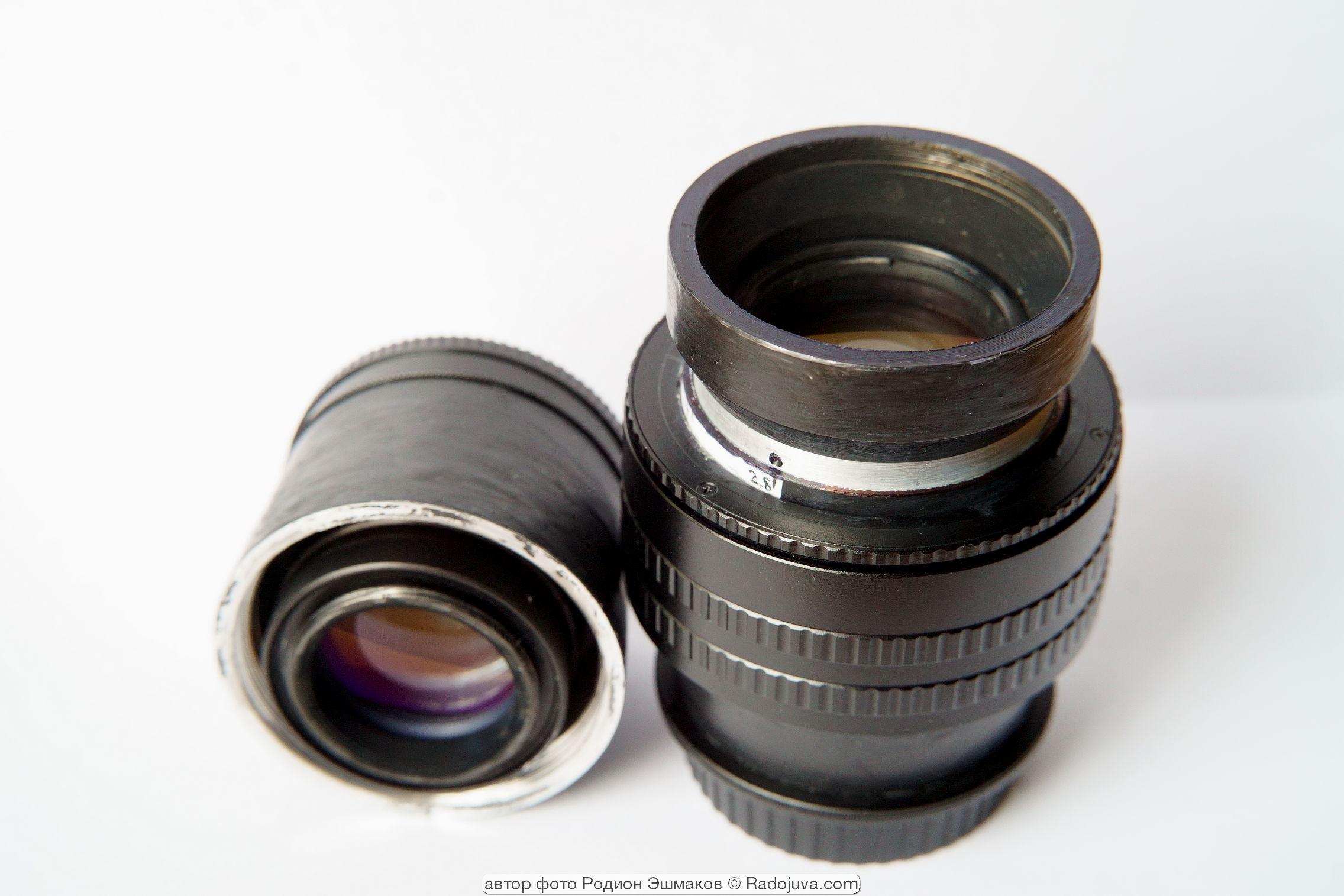 Адаптированный Триплет-5 100/2.8 с двумя вариантами хвостовиков: с резьбой М42 и с самодельным 0.7х спид-бустером для беззеркальных камер.